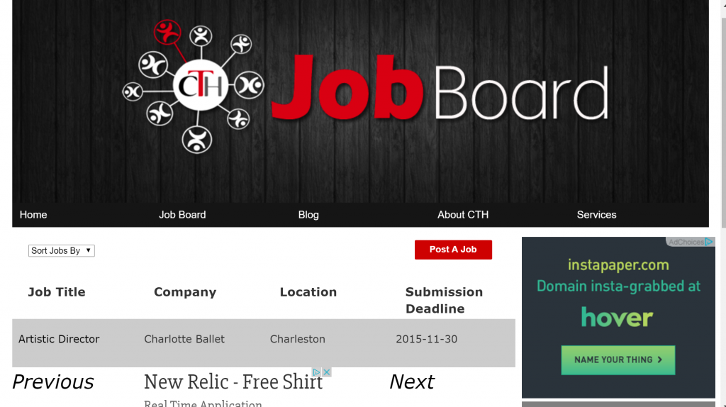 Candadian Theatre Hub Job Board